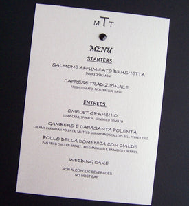 Chic menu, wedding reception menu, black, white, ivory, gem menu