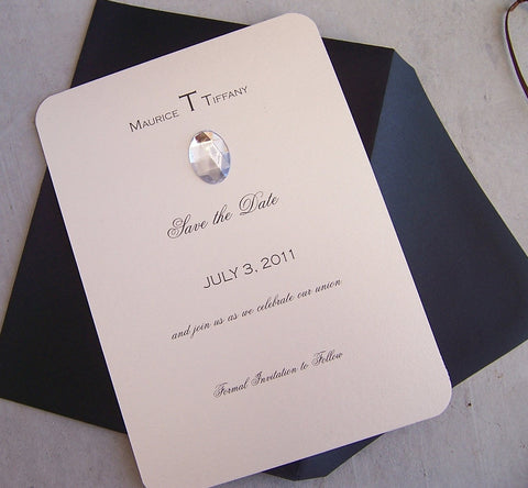 Chic save the date, modern save the date, ivory black save the date, gem save the date, elegant save the date