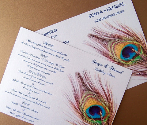 Peacock menu, gold, teal, navy, ivory menu, feather menu, peacock feather menu