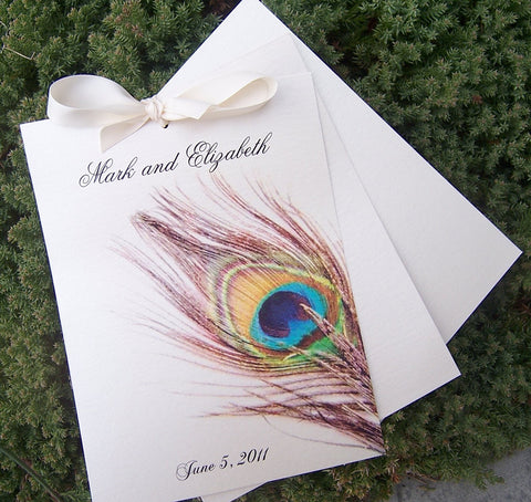 Peacock feather program, ivory, metallic program, multicolor program, peacock wedding program
