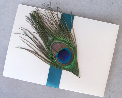 Peacock Pocketfold wedding invitation, pocket fold invitation, feather, peacock invitation,