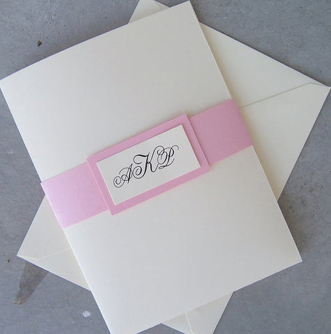 Elegant pocketfold wedding invitation, ivory, pink, monogram wedding invitation,  pocketfold invitation, pink, ivory wedding invitation