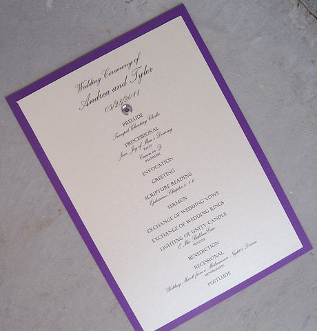 Purple Wedding program, ivory wedding program, white wedding program, simple wedding program, gem program