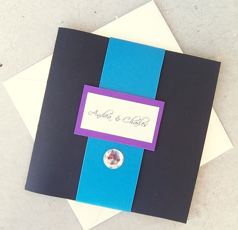 Tri fold pocketfold wedding invitation, gem wedding invitation, modern wedding invitaiton, black, purple, ivory aqua teal wedding invitation