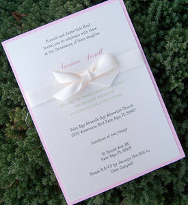 Baptism invitation, child birthday party invitation, baby shower invitation, pink, green, ivory, white invitation