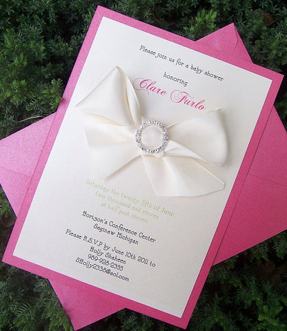 Baby shower invitation, pink shower invitation, rhinestone invitation, elegant shower invitation