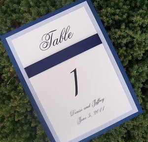 Layered table number, silver, blue, ivory, white metallic table number, elegant table number