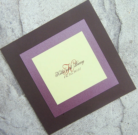 Modern wedding program, Layered program, brown, green, purple, red wedding program, fall wedding program