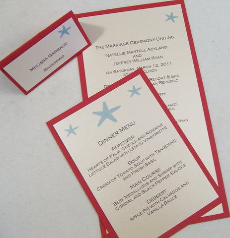 Beach program, menu, escort, place cards, starfish program, menu, escort card, destination wedding program, menu, place cards