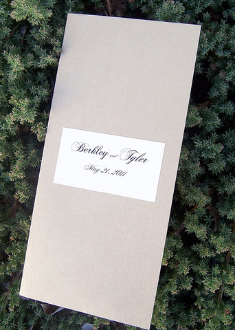 Gold wedding program, ivory program, elegant wedding program, sophisticated wedding program, metallic wedding program