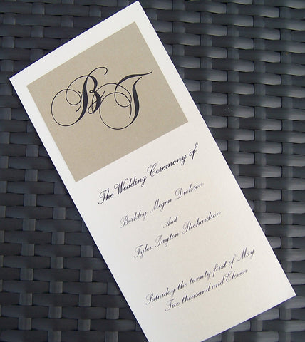 Gold & Ivory Wedding Program: Monogram Marriage Program, Metallic Wedding Program, Elegant Wedding Program, Handmade Event Program