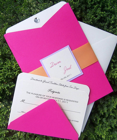Pocket invitation, pink, orange, ivory, white wedding invitation, monogram wedding invitation, chic wedding invitation