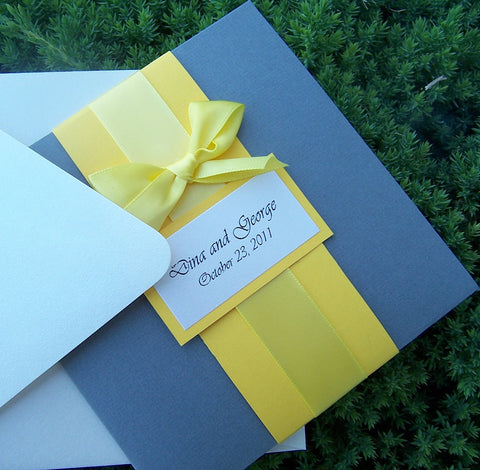 Yellow and Grey pocketfold invitation, Bow wedding invitation, pocketfold wedding invitation, modern, chic wedding invitation