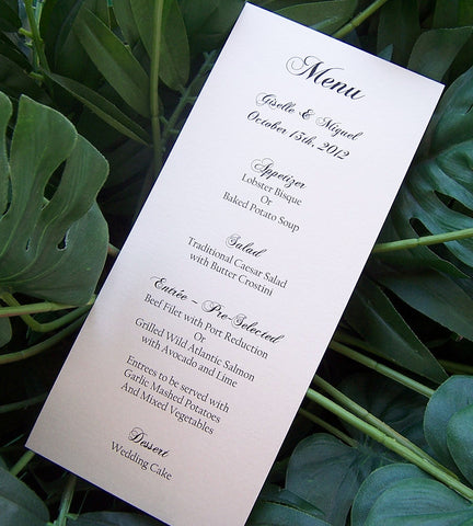 Ivory Menu, Metallic wedding menu, elegant menu, dinner meu