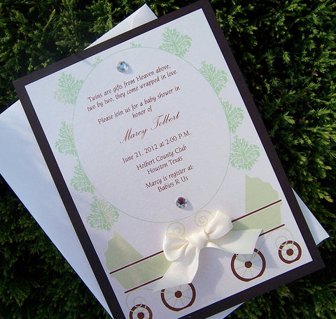 Baby shower invitation, green, brown, ivory shower invitation, pram invitation, vintage invitation
