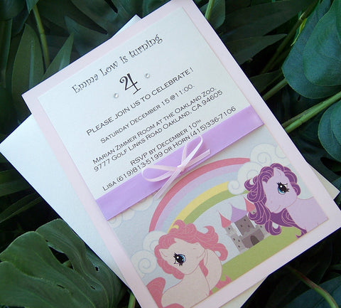 My little pony invitation, Girls birthday invitation, pink, purple invitation, childs birthday invitation