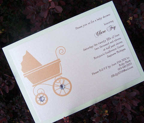 Baby shower invitation, carraige invitation, green, brown baby invitaiton, pram invitation, vinage shower invitation, gem baby shower
