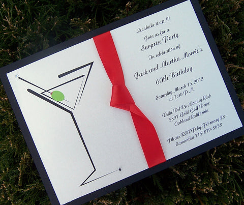 Martini invitation, cocktail pary invitation, birthday party invitation, bachelorette invitation, bachelor invitation