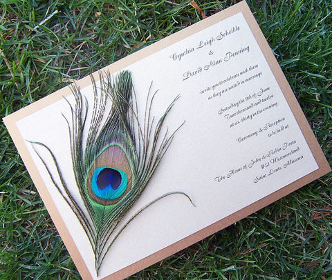 Peacock feather wedding invitation,  gold invitation, feather invitation, peacock invitation, ivory invitation, metallic invitation