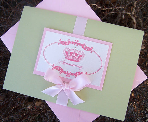 baby annoucement, elegant annoucement, birth annoucement, picture annoucement, pink, green annoucement