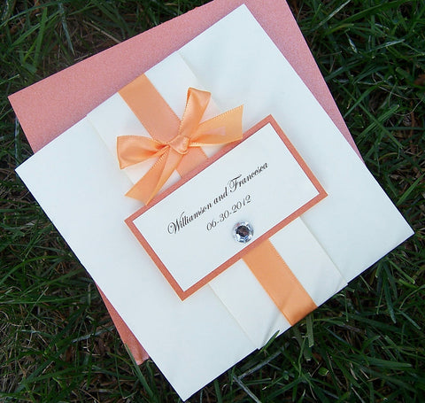 Orange & Ivory Pocketfold Invitation: Bow Tie Wedding Invitation, Pocket Fold Wedding Invite, Modern Chic Wedding Invitation
