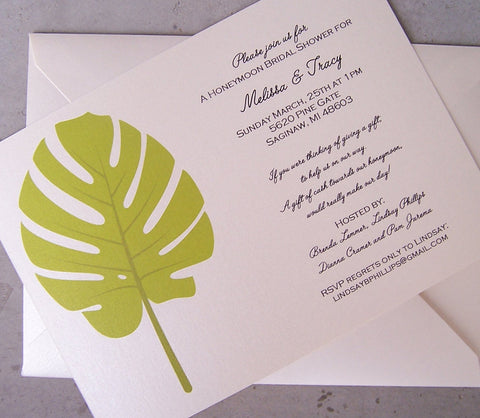 Tropical wedding invitation, beach invitation, green invitation, , desination wedding invitation, ivory invitation, shower invitation