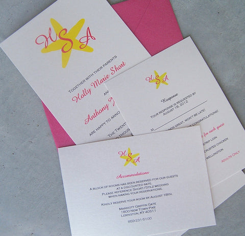 Seaside wedding invitation, beach wedding invitation, destination invitation, starfish invitation
