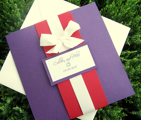 Pocketfold invitation, chic invitation, modern wedding invitation, pocket fold invitation, purple, red, ivory invitation, bow invitation