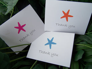 Starfish Thank you note, Beach wedding, summer wedding, Tropical thank you note, pink, blue, orange thank you note