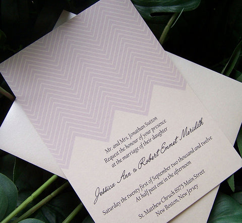 Chevron wedding invitation, modern chevron invitation, geometric invitation, stripe wedding invitation