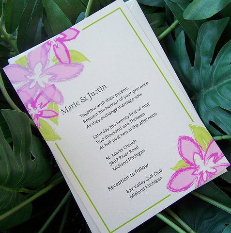 Flower wedding invitation, beach wedding invitation, summer invitation, destination wedding invitation, pink, lime, spring invitation