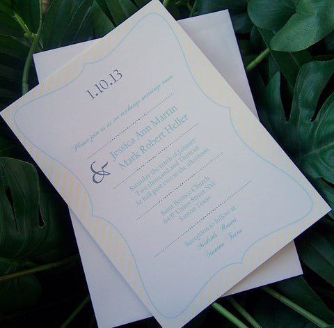 Stripe wedding invitation, spring, summer wedding invitation, chic invitation, yellow, teal grey, blue wedding invitation