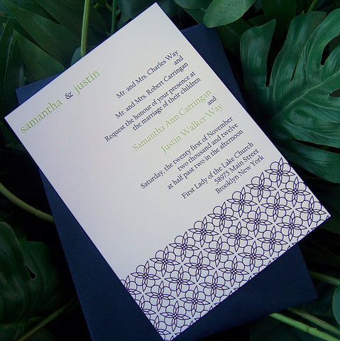 Pattern wedding invitation, navy wedding invitation, spring, summer wedding invitation, lime invitation, green invitation, modern invitation