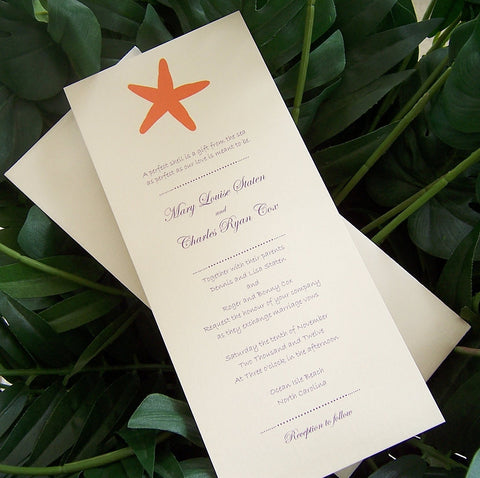 Starfish wedding invitation, Destination wedding invitation, beach wedding invitation, seaside invitation, orange, purple inivtation