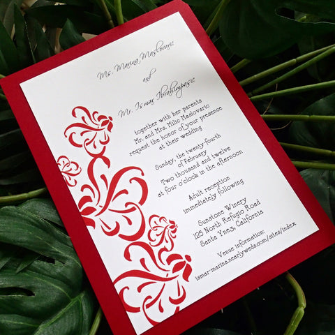 Red and White wedding invitation, Modern wedding invitations, Flourish wedding invitation, damask wedding invitation, elegant invitation