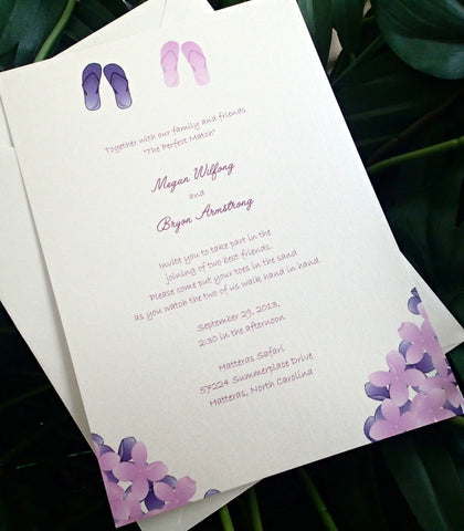 Destination wedding invitation, Beach wedding invitation, Purple wedding invitation, summer invitation, flip flop invitation, flower