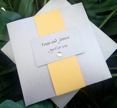 Pocket fold wedding invitation, Silver and yellow invitation, Grey and Yellow wedding invitation, elegant invitation