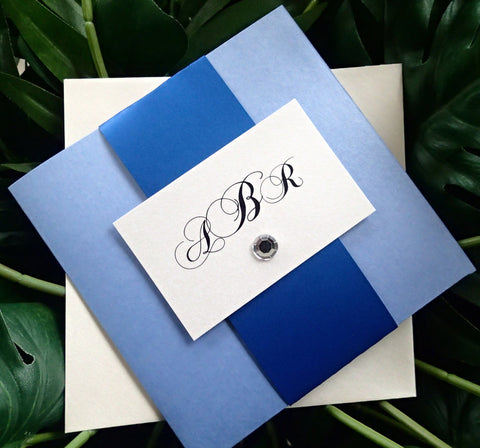 Pocket fold wedding invitation, Royal Blue wedding invitation, Modern invitation, blue wedding invitation, pocketfold