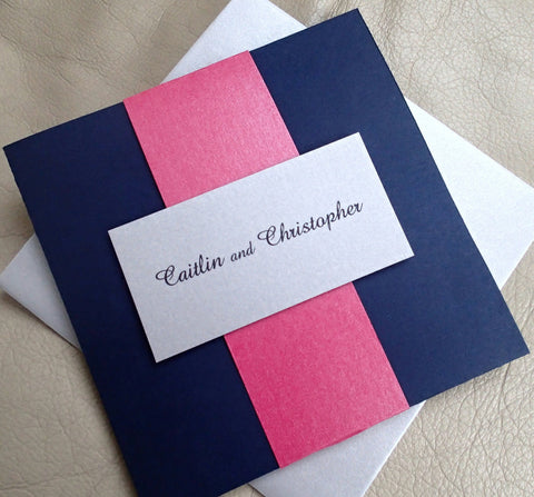 Pocket Fold Wedding Invitation: Navy Blue Event Invitation, Silver Wedding Invite, Pink Invitation, Modern Handmade Wedding Invitation