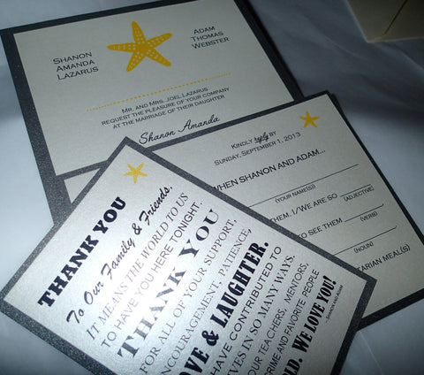 Seaside invitation, Starfish invitation, Beach invitation, Destination wedding invitation, yellow and grey invitation