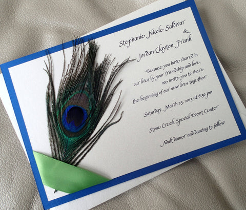 Peacock wedding invitation, Feather invitation, Ribbon invitation, Apple Green invitation, Royal blue invitation