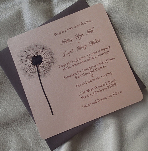 Dandelion invitation, flower invitation, Brown wedding invitation, Tan wedding invitation, country invitation