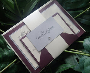Banded Wedding Invitation, Purple wedding invitation, Silver invitation, Ivory invitation, modern invite, elegant invitation