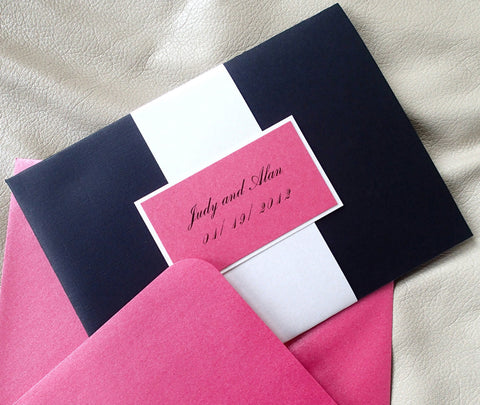 Pocketfold invitation, Black pocket fold invitation, Fuschia wedding invitation, Ivory invitation, Modern invitation