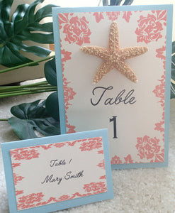 Starfish table numbers, Seaside wedding, Destination wedding table number, coral table number, coral escort card