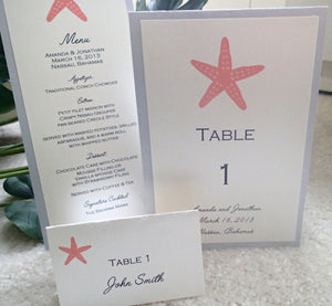 Beach table number, Destination wedding menu, Seaside wedding, Starfish menu, Coral Wedding, Silver Placecard