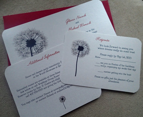 Dandelion wedding invitation, purple, silver, Red, black Ivory, invitation, nature wedding invitation, flower wedding invitation