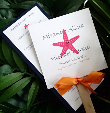 Starfish program, Starfish menu, Coral menu, Fan program, Beach wedding , destination wedding