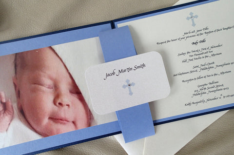 Baptism Invitation, Birth announcement, Boy Invitation, Christening invitation, Cross Invitation