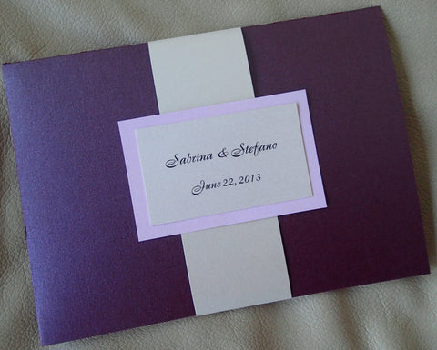Purple pocket fold invitation, ivory wedding invitation, elegant invitation, modern invitation, pocket invitation